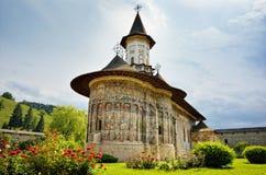 Sucevita ortodox rumänsk klostergränsmärke Arkivbild