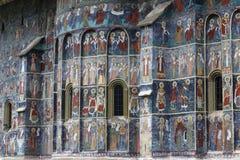 Sucevita, Voronet, monastério, o monasterie pintado famoso em Romênia imagens de stock