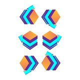 Such 3d cubes purple with arrow, logo design. Vector illustration.  Royalty Free Stock Image