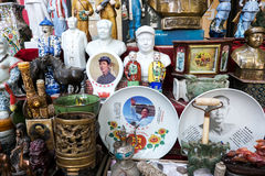 Such great man MAO zedong's small items. Market of selling etc. A batch of China's modern great man MAO zedong's portrait and porcelain carvingn Stock Photography