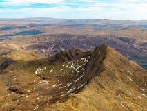 Snowdondian Valleys seen from the top of Mount Snowdon stock photos