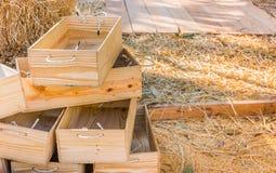 Sucha słoma i drewniany wiadro dla żywieniowych cakli w gospodarstwie rolnym Zdjęcia Stock