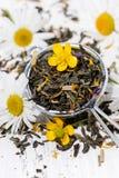 Sucha ziołowa fragrant herbata w durszlaku, pionowo odgórny widok fotografia royalty free