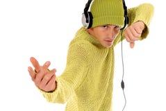 słuchawki nastoletnia Obraz Royalty Free