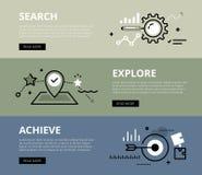 suche explore achieve Web-Fahnen eingestellt vektor abbildung