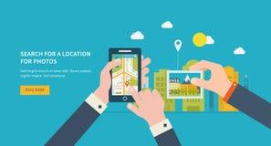 Suche nach einem Standort auf Fotos Lizenzfreie Stockbilder