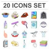 Suchego cleaning wyposażenia kreskówki ikony w ustalonej kolekci dla projekta Myjący odzieżowego wektorowego symbol i odprasowywa Obrazy Stock