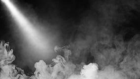 Suchego lodu dymnych chmur mgły podłogi tekstura Biel doskonalić sportlight mgły skutek na odosobnionym czarnym tle obraz royalty free