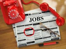 Suchen nach einem Job Jobfreie stellen Zeitung mit Anzeigen, stock abbildung