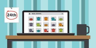 Suchen nach Häusern auf einer Real Estate-Website lizenzfreies stockbild