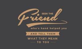 Suchen Sie den Freund, dem ` s Hand Ihnen half vektor abbildung