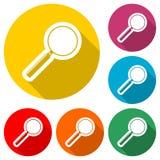 Suchen Sie Ikone, Lupe, Farbikone mit langem Schatten Stockfotos