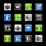 Suchen von Gelegenheiten und Geschäftsstrategie-von glatter Knöpfe Gelbox-Reihe lizenzfreie abbildung