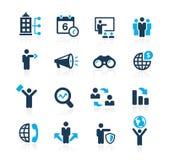 Suchen von Gelegenheiten und von Geschäftsstrategien //Azure Series stock abbildung