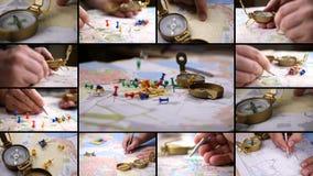 Suchen von Richtung mit einem Kompass auf Hintergrund der Karte stock video