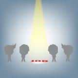 Suchend, fokussieren Leute nach dem rechten Job durch Scheinwerfer, Konzeptillustrationsvektor der menschlichen Ressource im flac Lizenzfreies Stockbild