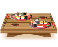 Suchi served on wooden table vector illustration Stock Photography