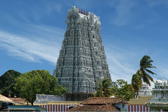 Suchindram temple dedicated to the gods Shiva, Vishnu and Brahma. Kanniyakumari, South India Royalty Free Stock Photo