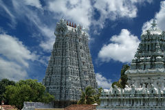 Suchindram temple dedicated to the gods Shiva, Vishnu and Brahma. Kanniyakumari, South India Royalty Free Stock Photos