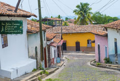 Suchitoto , El Salvador. MAY 07 : Street view of Suchitoto El Salvador on May 07 2016. the colonial town of Suchitoto built by the Spaniards in the 18th Stock Photos