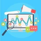 Suchmaschine-Marketing-Fahne Computer mit Gegenstand, Diagramm, Benutzerikone Stockbilder