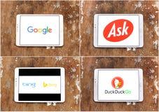 Suchmaschinen googeln, bitten, Bing, duckduckgo stockfoto