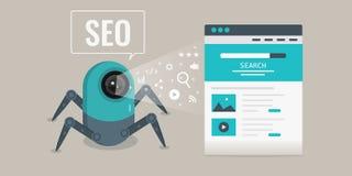 Suchmaschinen-Optimierung, Schleichen Bot, der Websitequellcode, Website seo Konzept analysiert Flache Designvektorfahne lizenzfreie abbildung