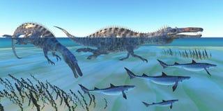 Suchomimus de Jachtvissen Royalty-vrije Stock Foto