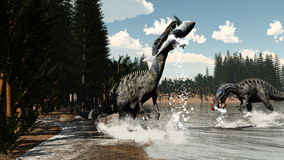 Suchomimus dinosaurs fishing fish and shark - 3D Stock Photos