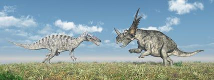Suchomimus e Styracosaurus illustrazione di stock
