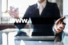 Suchstange mit WWW-Text Website, URL Digital-Marketing Stockfotografie