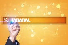 Suchstange mit WWW-Text Website, URL Digital-Marketing Geschäft, Internet und Technologiekonzept Lizenzfreie Stockbilder