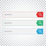 Suchstangenfeld Stellen Sie Vektorschnittstellenelemente mit Suchkolben ein Stockbild