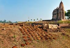 Suchy krowy łajno blisko Javari świątyni w Khajuraho Obrazy Royalty Free