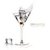 Suchy Martini koktajl z Dużym pluśnięciem szablonu projekt Obraz Stock