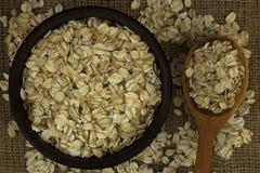 Suchy owsów płatków oatmeal w pucharze na grabić z drewnianą łyżką Fotografia Royalty Free