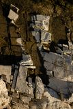 Suchy rzeczny kamienia strzał w ciepłym świetle zdjęcia royalty free