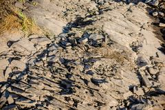 Suchy rzeczny kamienia strzał w ciepłym świetle zdjęcia stock