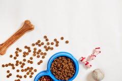 Suchy zwierzęcia domowego jedzenie w pucharze z balową i psią kością na białego tła odgórnym widoku fotografia royalty free