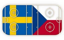 Suécia contra Checo Competição 2016 do hóquei em gelo Imagens de Stock Royalty Free