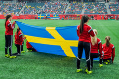 Suécia contra equipas nacionais de Nigéria Campeonato do mundo de FIFA Women's Fotografia de Stock
