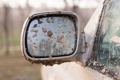 Suciedad en el espejo del coche Imagen de archivo