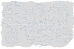 Sucio gris descolorada de los engranajes de semitono azules del bosquejo Imagenes de archivo