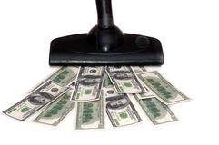 Sucking money vacuum cleaner. Isolated on white Royalty Free Stock Photos