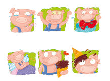 Suckling pig with ice cream and gift, stomach ache, band-aid on finger Royalty Free Stock Photo