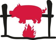 Suckling pig over flame royalty free illustration