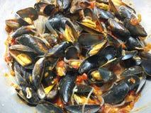 Suckulent lagade mat musslor och nudlar Royaltyfria Foton