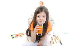 Suco bebendo da menina Imagem de Stock Royalty Free