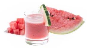 Suco caseiro da melancia no branco imagens de stock