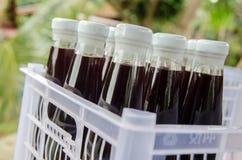 Suco da amoreira na bebida da garrafa Fotos de Stock Royalty Free